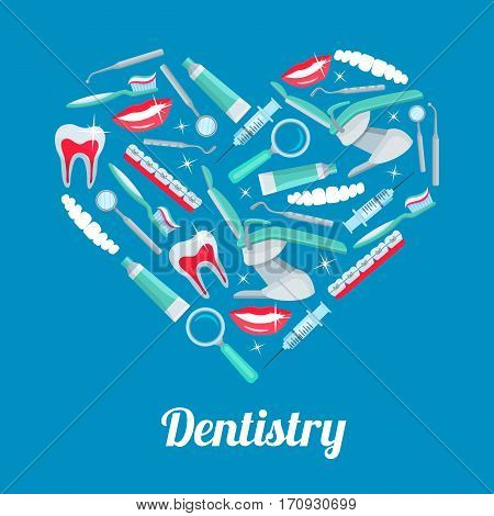 Heart with dentistry icons. Tooth, dentist tool, toothpaste, toothbrush, chair, brace, smile, mirror, syringe and probe arranged into heart shaped badge for dentistry or dentist office poster design