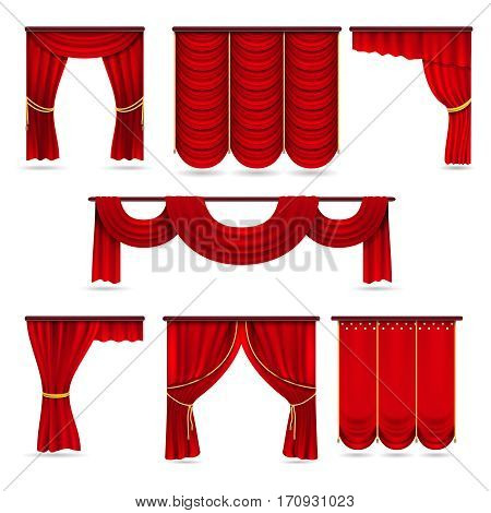 Silk red room curtains, velvet scarlet fabric curtains vector collection. Illustration of red curtains for presentation and stage of theater