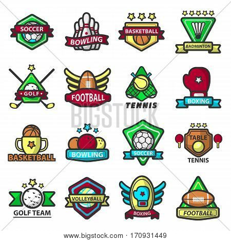 Sports icons and logos. Vector templates of soccer or football ball, bowling pins, basketball or badminton, tennis and boxing. Emblems of golf or volleyball for team club mascot or game application