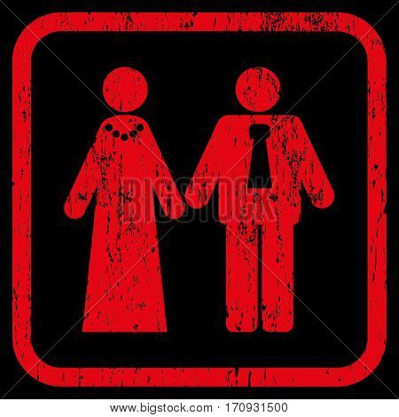 Newlyweds rubber watermark. Vector pictogram symbol inside rounded rectangular frame with grunge design and dirty texture. Stamp seal illustration. Unclean red ink emblem on a black background.