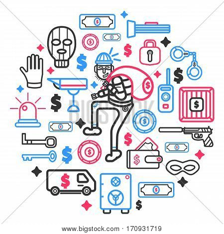 Thief and theft or robbery concept vector poster. Icons set of robber man or burglar in mask stealing money wallet, door keylock and security alarms, safe box and guns