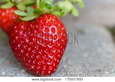 Strawberries growing organically in the garden hanging over a paver walkway.