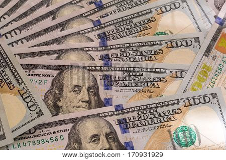 United States of America USD 100 One Hundred Dollar Bills Federal Reserve Notes Background