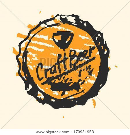 Creative craft beer cap element. Vector illustration pub sketch. Hand drawing graphic objects used for advertising festival, beverage, brewery, bar and pub menu.