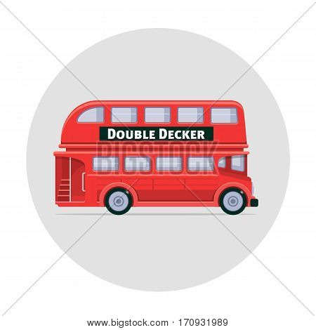Vector double decker bus england icon illustration red