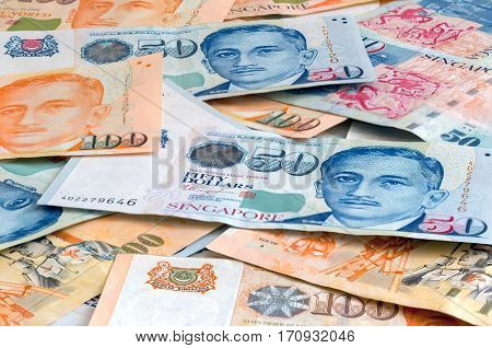 Singapore SGD One Hundred and Fifity Dollar Bills Background Closeup