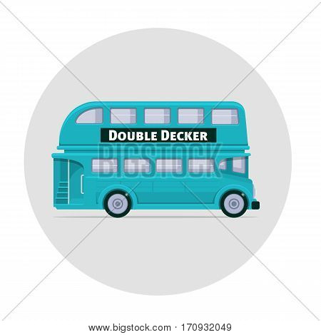 Vector double decker bus england icon illustration blue