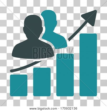 Audience Growth Bar Chart icon. Vector illustration style is flat iconic bicolor symbol soft blue colors transparent background. Designed for web and software interfaces.