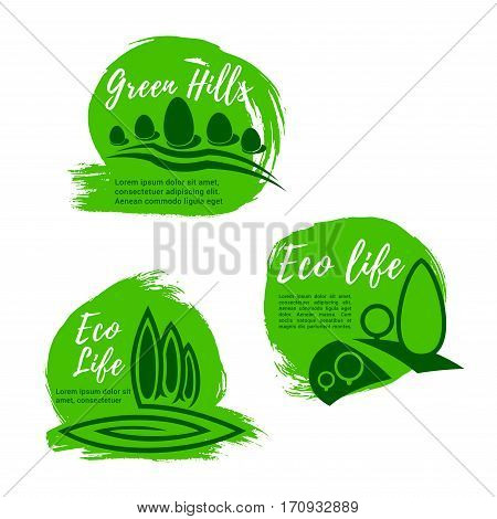 Eco green life icon set. Nature landscape with summer green trees and plants. Ecology, eco friendly lifestyle, health themes design