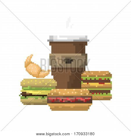 Pixel icons cheeseburger sign dinner tasty beverage. Fast food computer design symbol retro game web graphic. Vector illustration restaurant pixelated element.