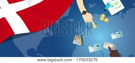 Denmark economy fiscal money trade concept illustration of financial banking budget with flag map and currency vector