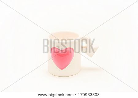 Cupid cup.Love or Valentine's Day concept.White theme space