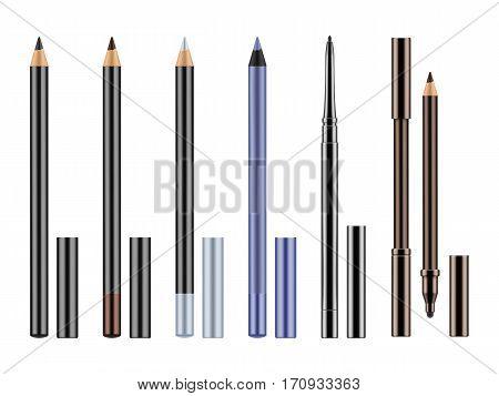 Set Of Realistic Eyeliners, Pencils.