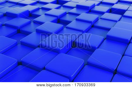 Blue abstract image of cubes background. 3d rendering