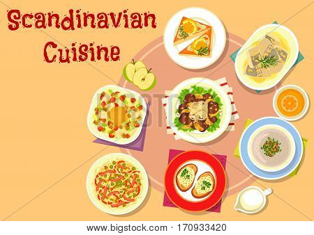 Scandinavian cuisine fish dishes icon with vegetable fish salad, shrimp toast, noodle meat salad with pickles, pike caviar on rye bread, liver with vegetables and fruit sauce, mushroom cream soup