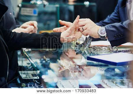 Woman Trying Wedding Rings