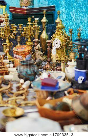 Golden Clock On Flea Market In Paris