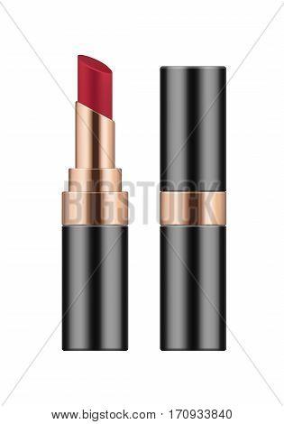 Vector Realistic Sexy Red Lipstick.