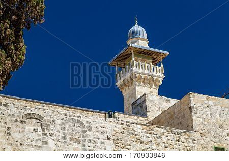 The Minaret of the Al-Aqsa Mosque on Temple Mount in the Old City of Jerusalem Israel