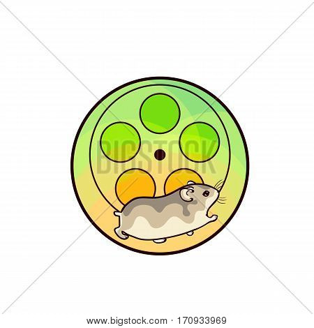 Djungarian hamster. Animal art, cute cartoon style, vector hand drawn illustration. Suitable for pet shop or zoo ads, label design or animal food package element