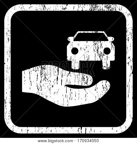 Car Gift Hand rubber watermark. Vector icon symbol inside rounded rectangle with grunge design and dirty texture. Stamp seal illustration. Unclean white ink emblem on a black background.