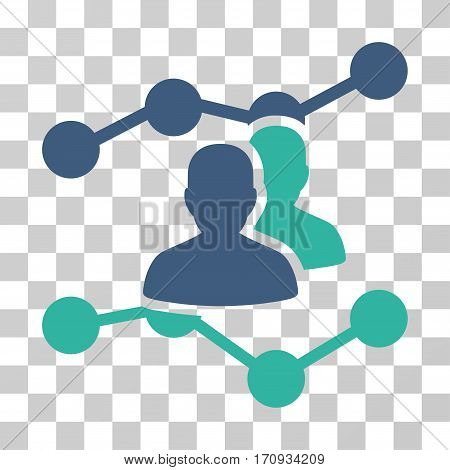 Audience Trends icon. Vector illustration style is flat iconic bicolor symbol cobalt and cyan colors transparent background. Designed for web and software interfaces.