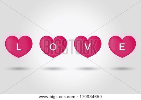 love on big pink hearts on grey background