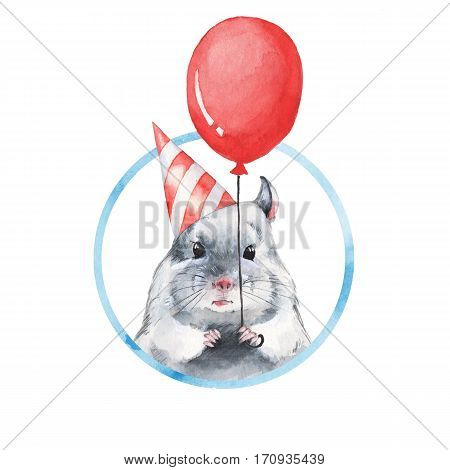 Chinchilla 1. Watercolor birthday card with cute mouse
