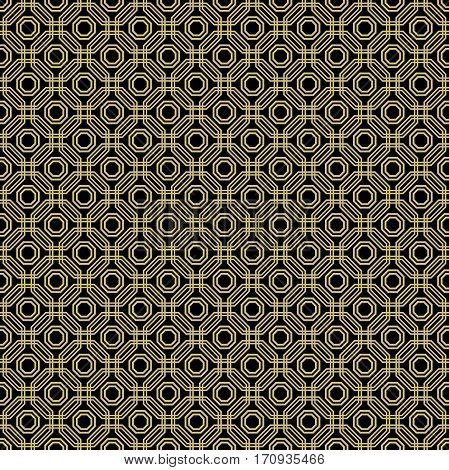 Geometric fine abstract octagonal background. Seamless modern pattern. Black and golden pattern
