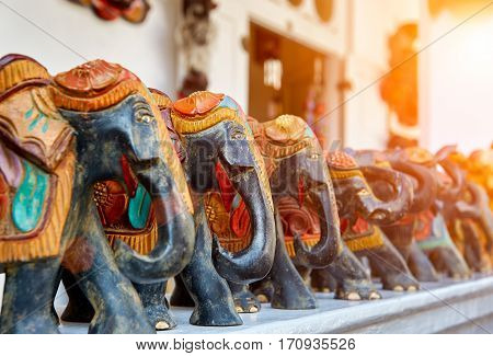 The handmade elefants on street souvenir market