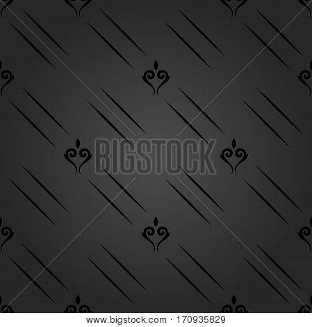 Seamless dark ornament. Modern geometric pattern with royal lilies