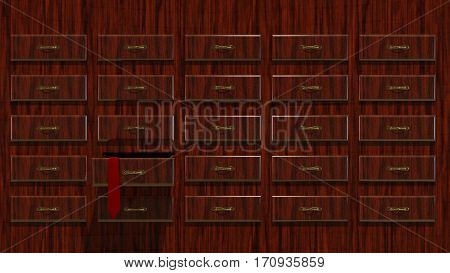 3D Illustration Abstract Background a Wooden Locker with Tie