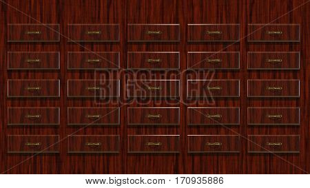 3D Illustration Abstract Background a Wooden Locker