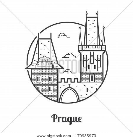 Travel Prague icon. Charles bridge towers on Vltava river is one of the famous architectural landmarks and attractions in Czech Republic capital. Thin line tourist destination icon in circle.