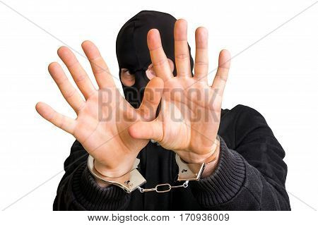 Masked Thief In Handcuffs Isolated On White Background