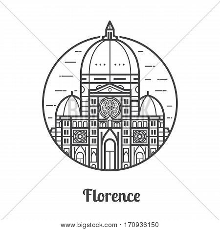 Travel Florence icon. Santa Maria del Fiore is one of famous landmarks and tourist attractions in capital city of Tuscany region, Italy. Domed Cathedral of Saint Mary of the Flowers Duomo in circle.
