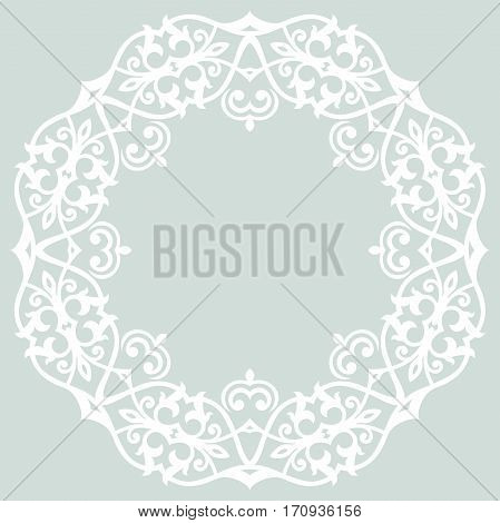 Elegant ornament in the style of barogue. Abstract traditional pattern with oriental elements. Light blue and white pattern