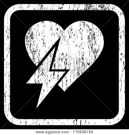 Heart Shock rubber watermark. Vector pictogram symbol inside rounded rectangle with grunge design and dirty texture. Stamp seal illustration. Unclean white ink emblem on a black background.