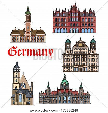 German travel landmark thin line icon set. Church Thomaskirche, Augsburg Town Hall, Abbey Church Birnau, New City Hall and Old Town Hall in Hanover. Travel, history, architecture theme design