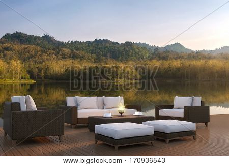 Outdoor living area and beautiful nature 3d rendering imageA place surrounded by nature There are wood floor and rattan furniture