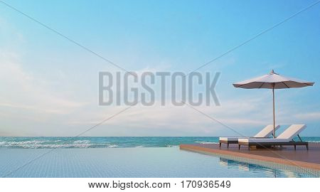 Pool terrace with sea view 3d rendering imageA place surrounded by the sea There are wood floorrattan sunbed fabric umbrella