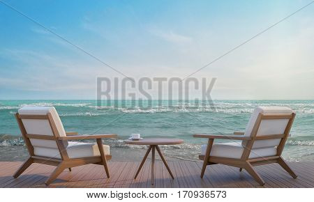 Sea side terrace and living area 3d rendering imageA place surrounded by the sea There are wood floor and furniture