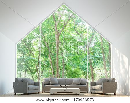 Modern white living room in the forest 3D Rendering Image minimalist style basic Simple bright and clean There are large windows looking out to experience nature up close.