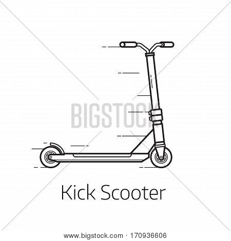 Kick scooter vector illustration. Alternative city transport in thin line design. Modern eco friendly vehicle and personal transportation gadget.