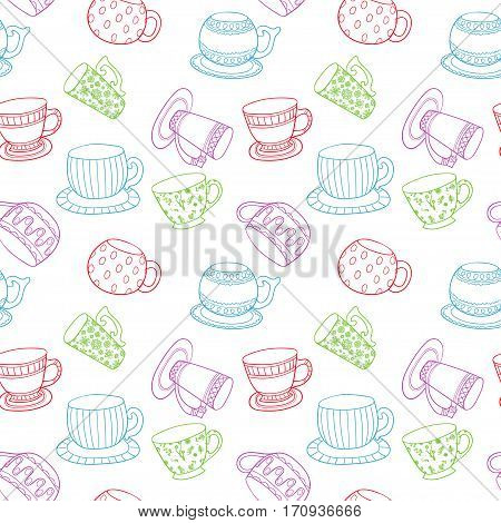 Seamless pattern with line art colorful silhouette tea cups, coffee cups, mugs - vector
