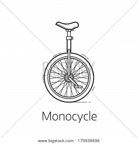 Alternative city transport monocycle in thin line design. Modern eco friendly vehicle and personal transportation gadget. Urban unicycle linear design vector illustration.