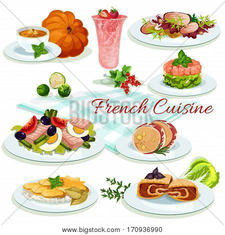French cuisine cartoon poster. Tomato olive salad with egg and fish, potato cheese casserole, duck salad, liver pate in bacon, berry cream dessert, pumpkin soup, salmon tartare, stuffed cabbage