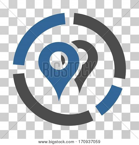 Geo Diagram icon. Vector illustration style is flat iconic bicolor symbol cobalt and gray colors transparent background. Designed for web and software interfaces.