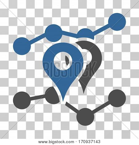Geo Trends icon. Vector illustration style is flat iconic bicolor symbol cobalt and gray colors transparent background. Designed for web and software interfaces.