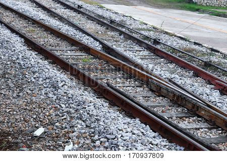 railway track on gravel for train transportation: Select focus with shallow depth of field: